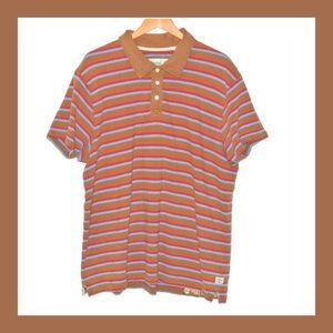 Timberland Brown Striped Polo Shirt Mens 3XL